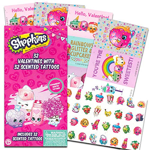 Shopkins Valentines Day Classroom Exchange Gift | 32 Valentines and 32 Tattoos | Homeschooling, Sunday School, Art Supplies Projects, Activities, Parties, Decor | 8 Super Sweet Designs.]()
