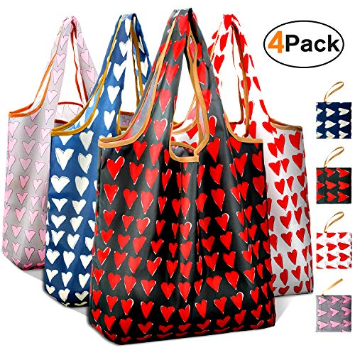 Reusable Grocery Shopping Bags Foldable with Pouch, Heavy Duty Nylon Cloth Reusable Bags for Groceries, Shopping Trip (Mixed with Heart-shape, 4-pcs) (Heart Tote Bag)