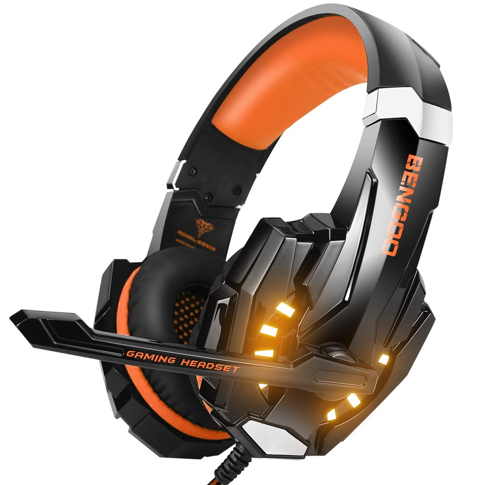 BENGOO Stereo Gaming Headset for PS4, PC, Xbox One Controller, Noise Cancelling Over Ear Headphones Mic, LED Light, Bass Surround, Soft Memory Earmuffs for Laptop Mac Nintendo Switch Games