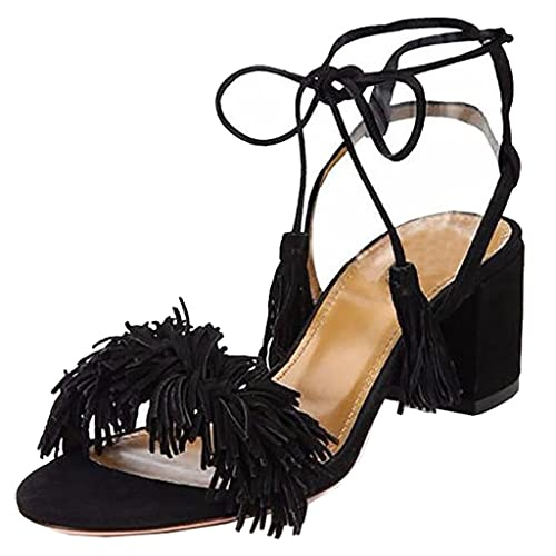 5fed3c4cb7f Lovirs Womens Open Toe Ankle Ties Chunky Heel Fringed Suede Sandals Dress  Causal Shoes