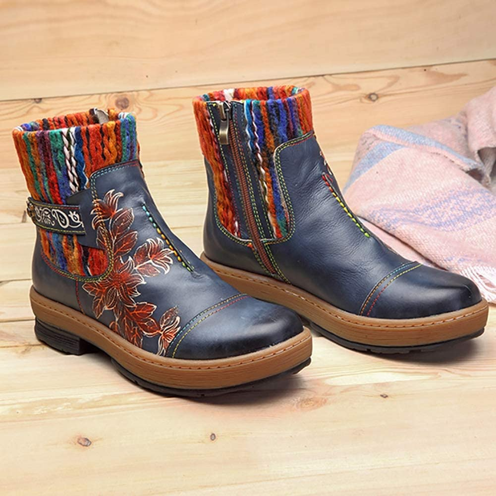 Stivaletti in Pelle Delle Donne Boot Autunno Inverno Fondo Spesso Walking Boot Signore Handmade Cucitura Di Lana Per Maglieria Crafts Doposci Blue