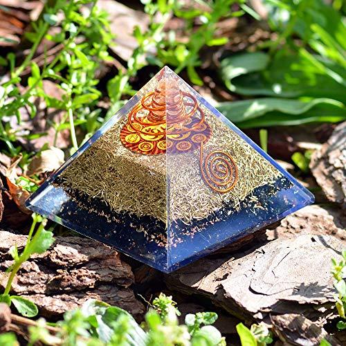 Orgone Pyramid Energy Generator - Chakra Om Symbol Orgonite Black  Tourmaline Crystal Pyramid with Brass Metal for EMF Protection - Chakra