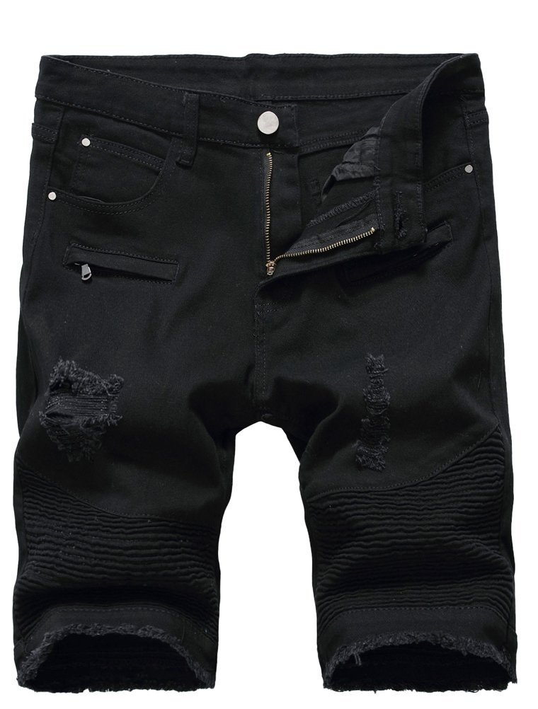 Lavnis Men's Casual Denim Shorts Classic Fit Ripped Distressed Summer Jeans Shorts 36
