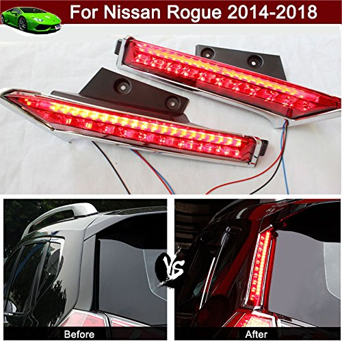 Rear Window Brake Light (2pcs Rear Window Decoration Lamp LED Pillar Brake Light Warning Light Side Cover Trim Emblems Custom Fit For Nissan Rogue 2014 2015 2016 2017 2018)