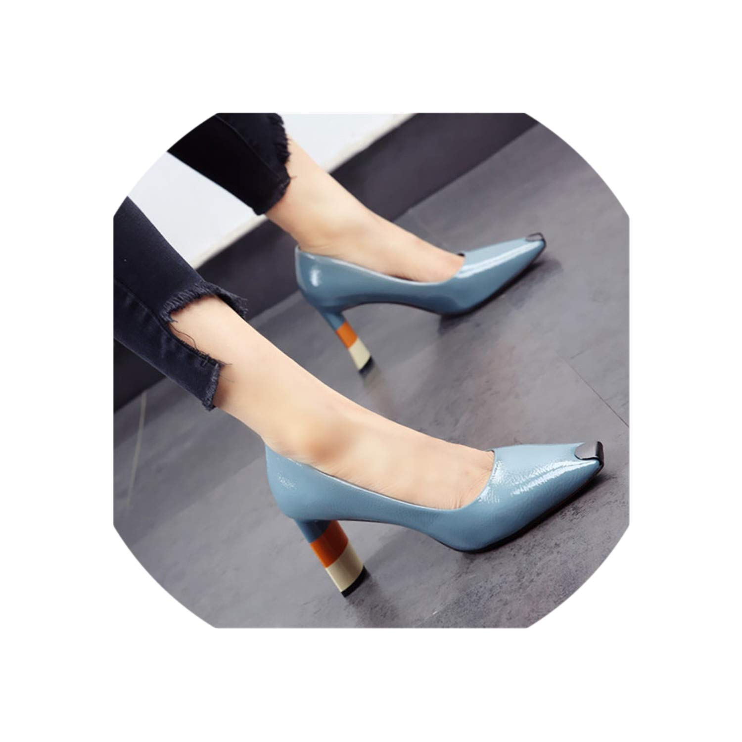 bluee colord Heel Women High Heel shoes Metal Square Toe Girls Party Wedding shoes Spring Women Pumps