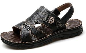 3dbca65b8913 Respeedime Men s Wear-Resisting Sandals Fashion Leather Beach Slippers  Casual