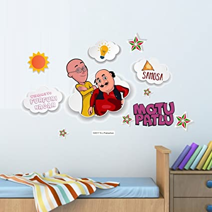 Buy Asian Paints Motu Patlu Enjoying Samosa Wall Sticker Pvc