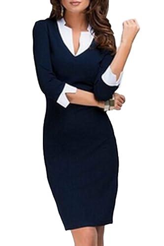 Women's Elegant Patchwork Bodycon Office Dress