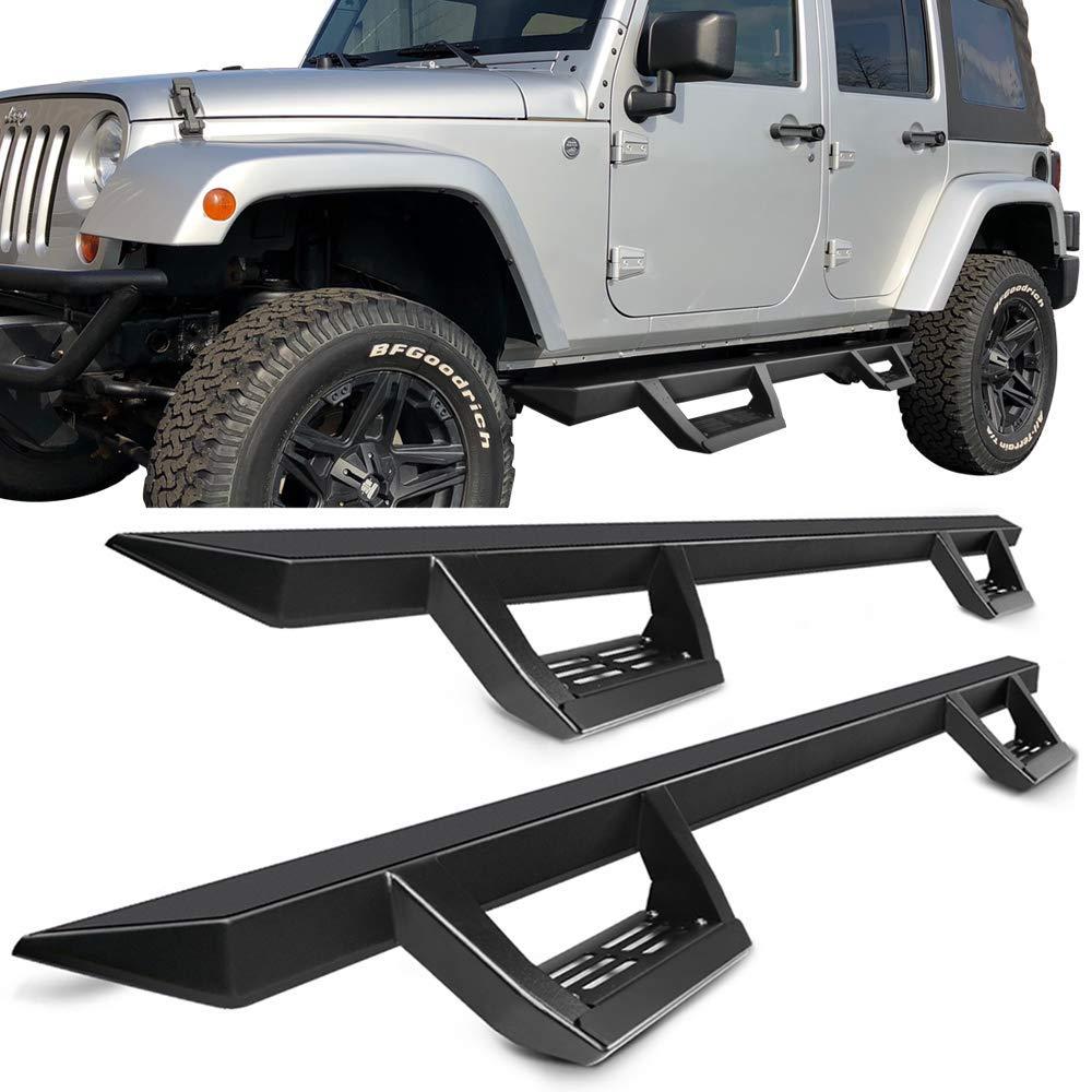 Running Boards Fits 2007-2017 Jeep Wrangler JK 4DR | IKON V2 Style Black Steel Side Step Bar Nerf Bar by IKON MOTORSPORTS