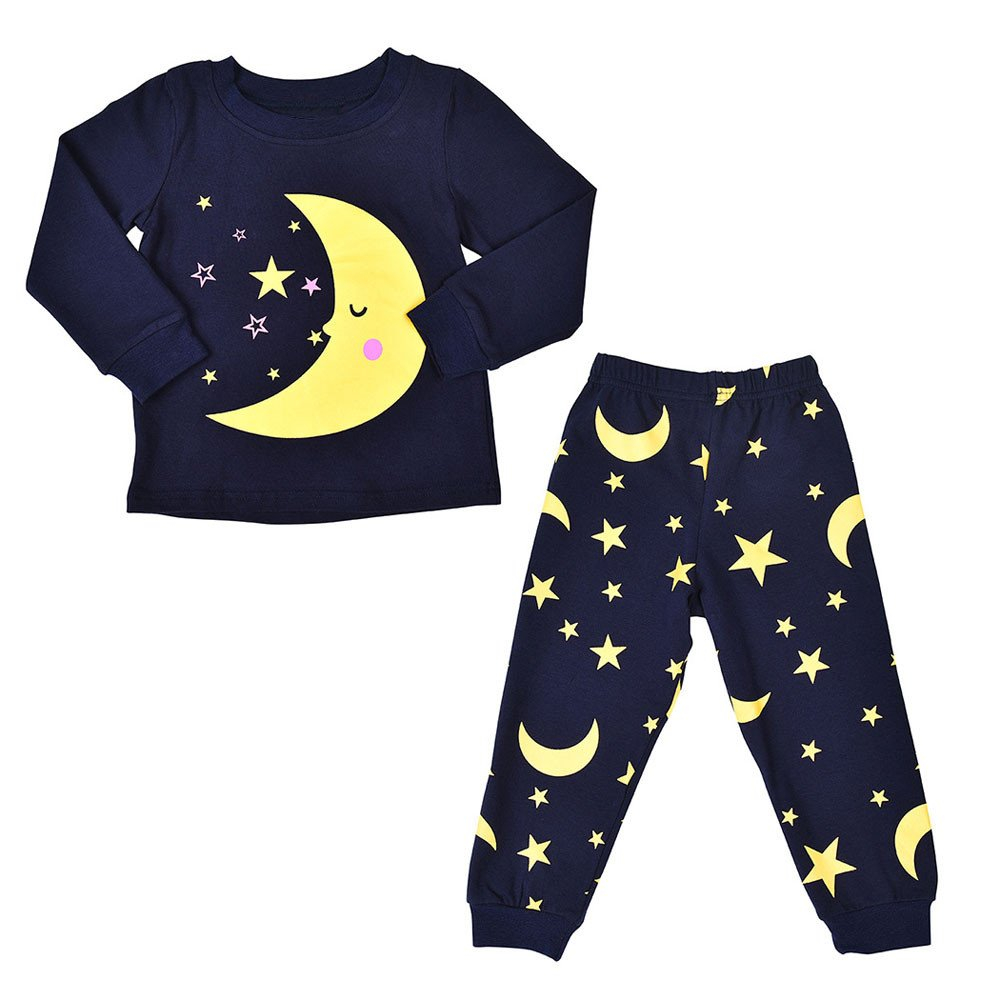 FIged Baby Winter Clothes, Children Moon Star Cartoon Clothes Leisure Sleepwear