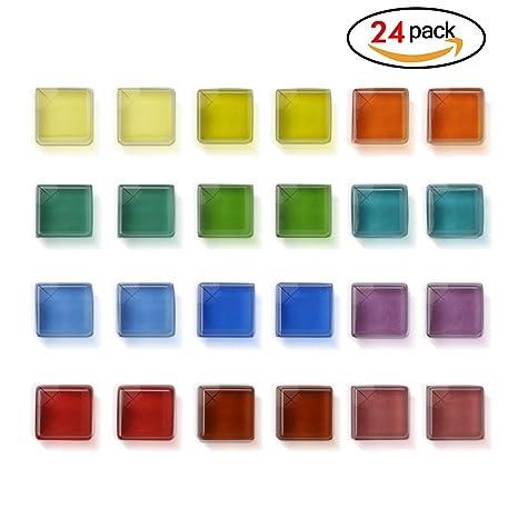 Imán de Cristal Transparente Cuadrado Decorativo para Pizarra Blanca de Oficina hogar Foto Cocina Nevera (pequeño)