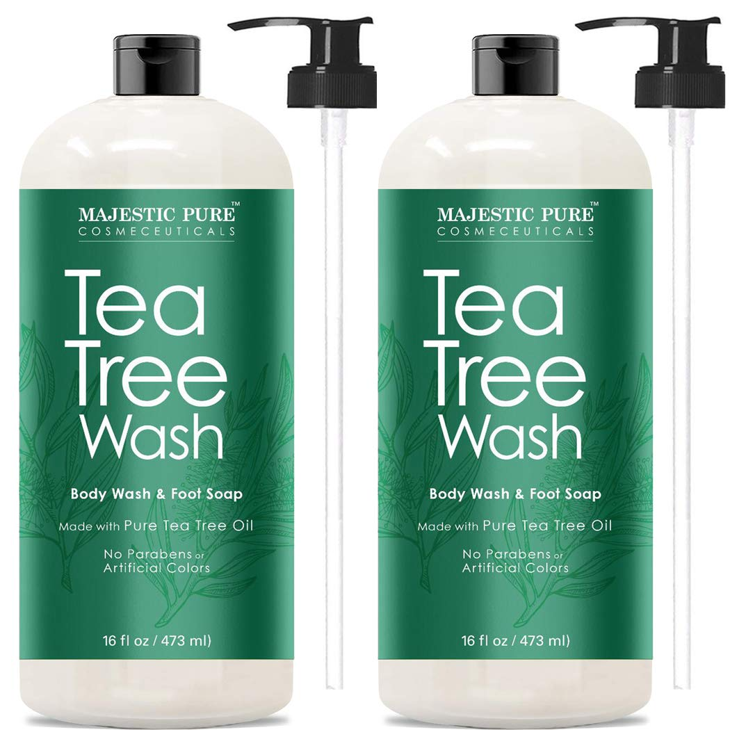 Antifungal Tea Tree Body Wash, Helps Nail Fungus, Athletes Foot, Ringworms, Eczema & Body Odor, Soothes Itching & Promotes Healthy Feet, Skin and Nails, Naturally Scented, Set of 2 16 fl. Oz by Majestic Pure