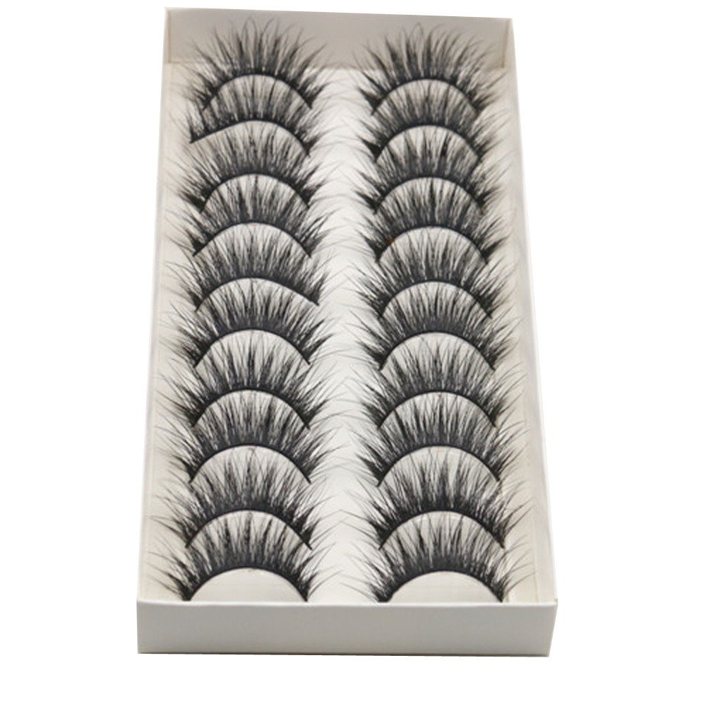 10 Pairs False Eyelashes,Napoo Hot Sale Reusable Thick Long Cross Black Band Fake Eye Lashes For Party RM-042301