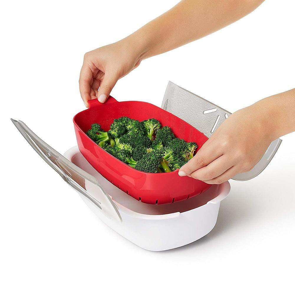 Estuche de vapor de plástico, plástico libre de BPA, para cocinar y calentados, 28,5 x 21,8 x 8 cm