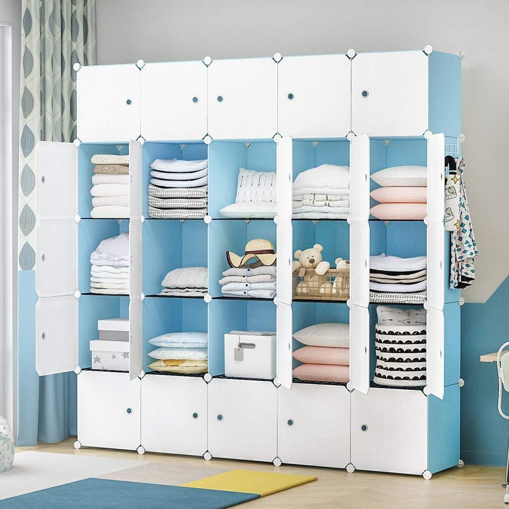 YOZO Portable Closet Wardrobe Cube Storage Chest of Drawer Cube Organizer Shelving Unit Multifunction Toy Cabinet Bookshelf DIY Furniture, Blue, 25 Cubes