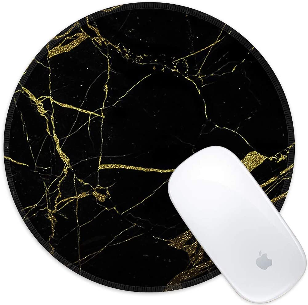 Marphe Mouse Pad Black Gold Marble Pattern Mousepad Stitched Edge Non-Slip Rubber Gaming Mouse Pad Round Mouse Pads for Computers Laptop