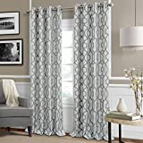 Celeste Modern Lattice Ironwork Print Blackout Room Darkening and Thermal Insulating Window Curtain / Single Lined Panel,, 52 Inch Wide X 84 Inch Long, Gray