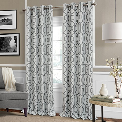 Celeste Modern Lattice Ironwork Print Blackout Room Darkening and Thermal Insulating Window Curtain / Single Lined Panel, 52 Inch Wide X 95 Inch Long, Gray