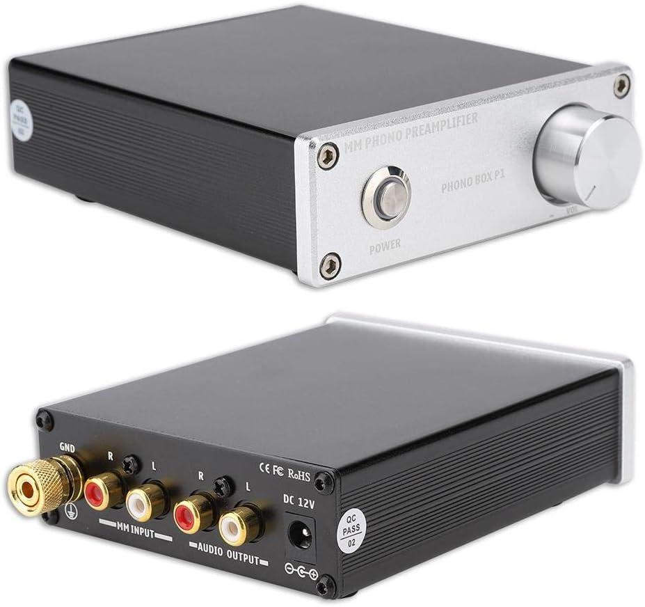 ASHATA Chapado en Oro para Entrada RCA Salida Phono Box P1 MM ...