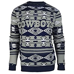 NFL Football 2015 Aztec Ugly Crew Neck Holiday Sweater - Pick Team (Dallas Cowboys, Small)