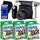 Fujifilm INSTAX 300 Wide-Format Instant Photo Film Camera (Black/Silver) + Fujifilm instax Wide Instant Film (60 sheets) + HeroFiber Ultra Gentle Cleaning Cloth by HeroFiber