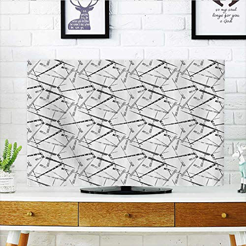 - L-QN Protect Your TV Grungy Murky Multiple Stripes with Mochrome Effects Simplistic Modern Track Bars Protect Your TV W30 x H50 INCH/TV 52