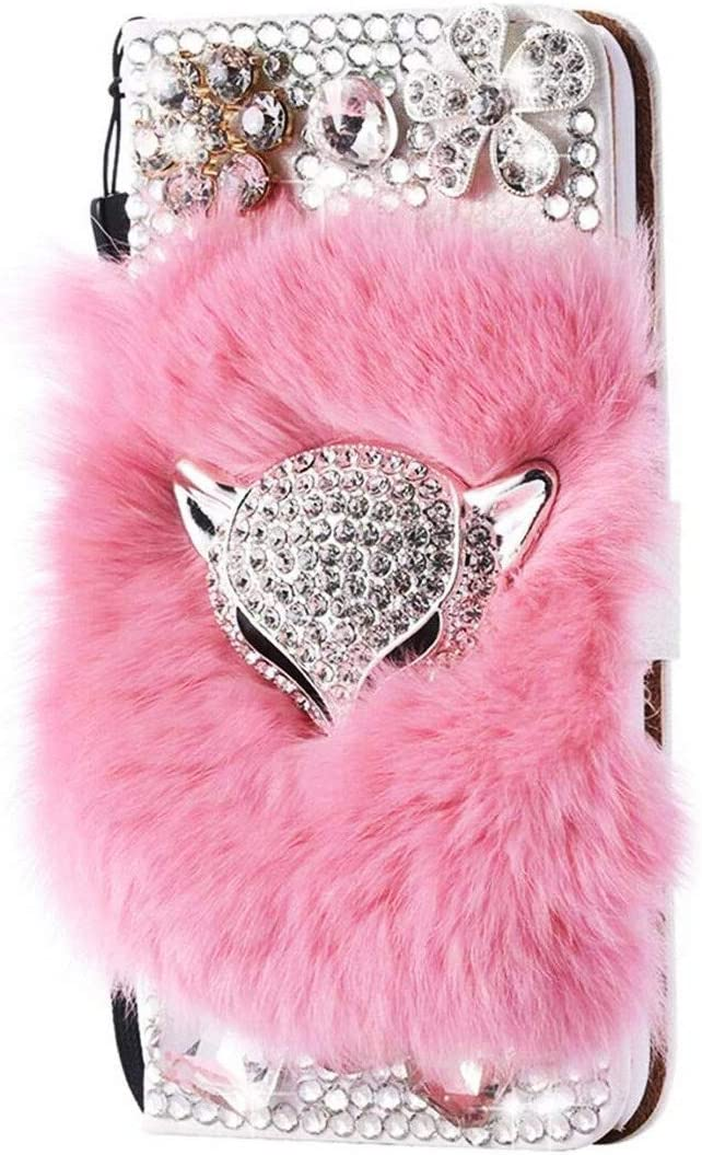 STENES Bling Wallet Phone Case Compatible with Samsung Galaxy A10e - Stylish - 3D Handmade Luxury Fox Flowers Design Leather Cover with Cable Protector [4 Pack] - Pink