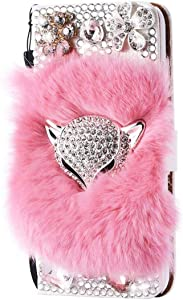 STENES Bling Wallet Phone Case Compatible with Moto G Play 2021 Case - Stylish - 3D Handmade Luxury Fox Flowers Design Leather Cover with Neck Strap Lanyard [3 Pack] - Pink