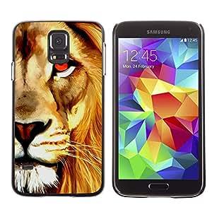 Caucho caso de Shell duro de la cubierta de accesorios de protección BY RAYDREAMMM - Samsung Galaxy S5 SM-G900 - Watercolor Lion Orange Art Painting