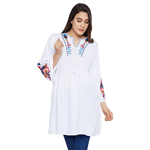 598bcf9a5db Toshee Women's White Color Embroidered Rayon Tunic (TOS_1081B ...