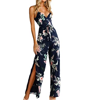 1c5fb75276b Rovinci Women s Clothing Womens Jumpsuit V-Neck Sleeveless Jumpsuit Floral  Printed Backless Wide Legs Pants Bodycon