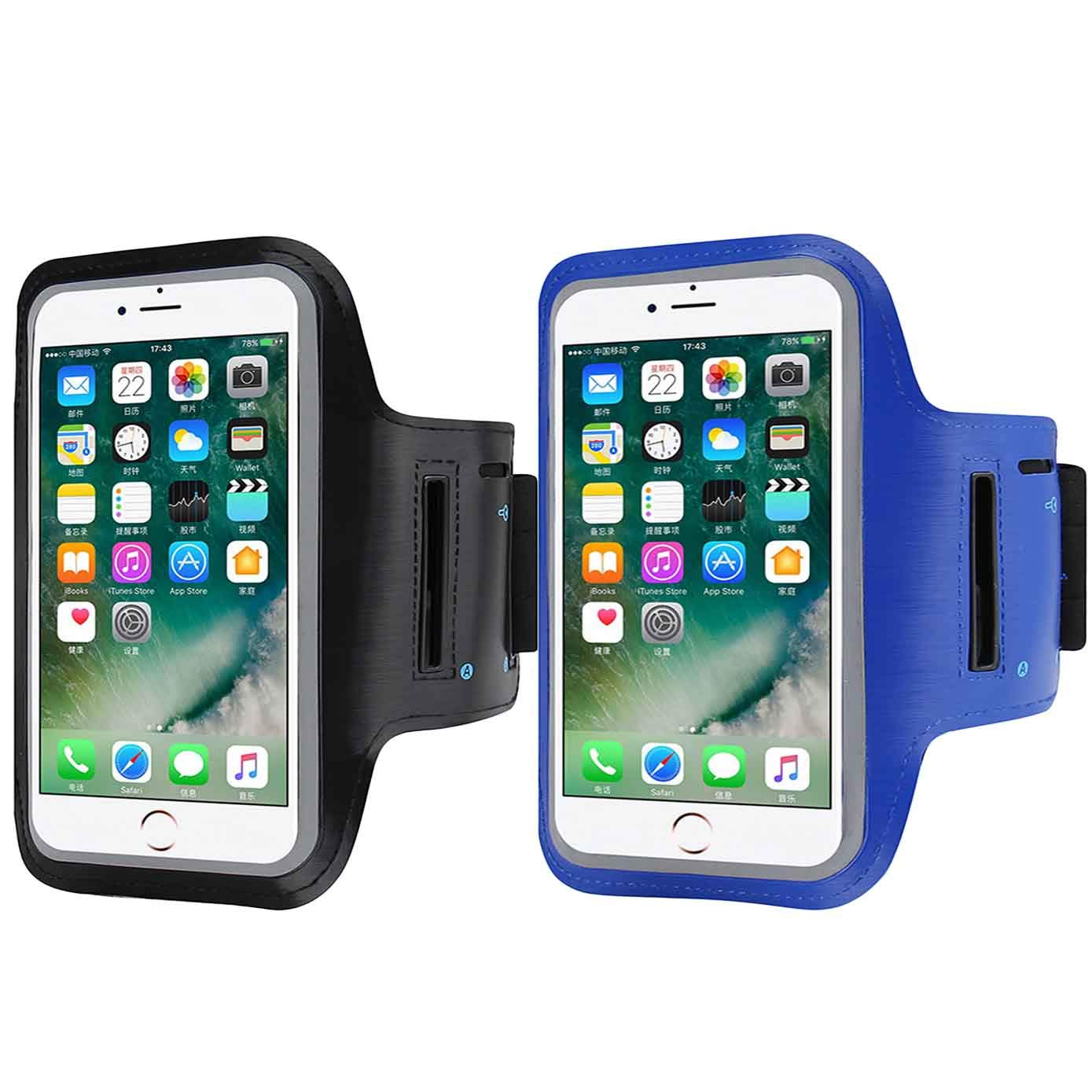 2 Pack Armband Sweatproof Running Armbag Gym Fitness Workout Cell Phone Case with Key Holder Compatible with iPhone X//XS//XS MAX//XR// 8 7 6 6s Plus Samsung Galaxy S9 S8 Edge,Diagonal 5.3~6.0-Black