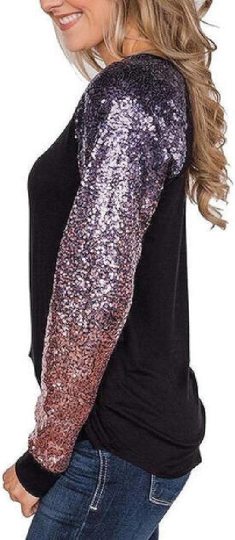 WAWAYA Womens Loose Plus Size Long Sleeve Sequins Patchwork T-Shirt Top Blouse