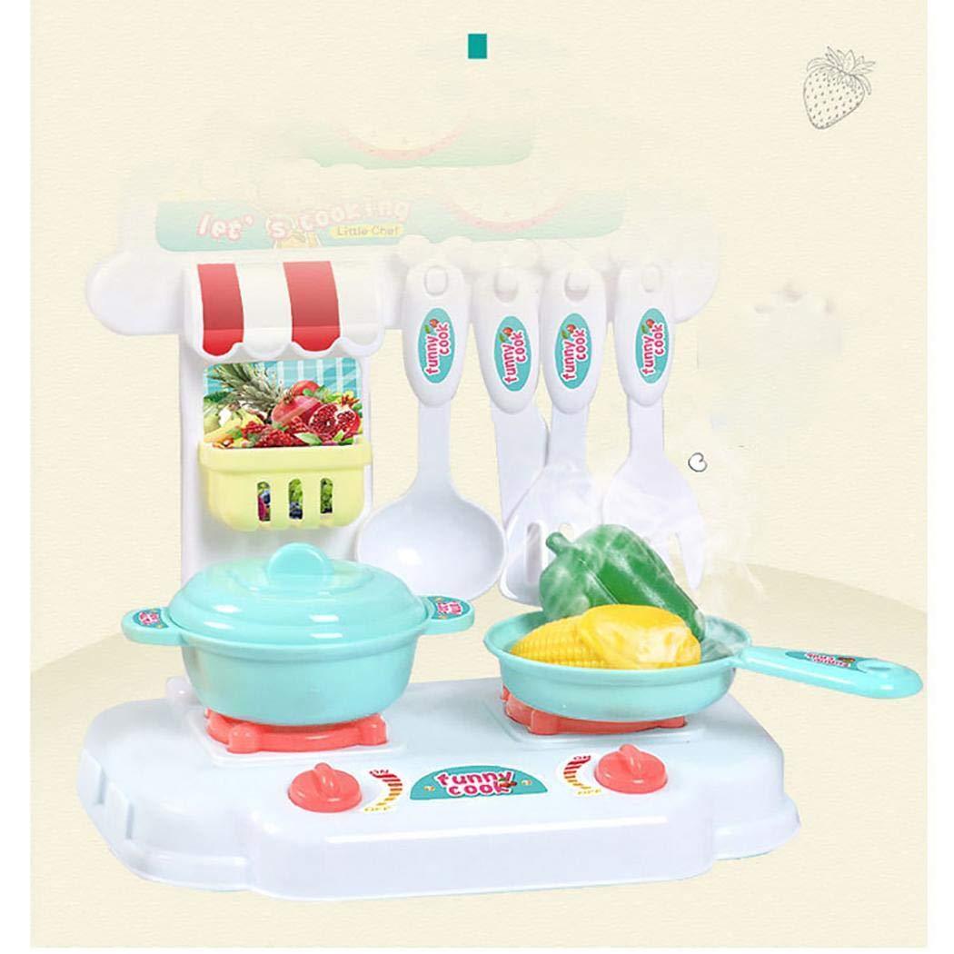 Kaimu Kids Girls Imitation Kit Kitchen Pretend Play Toy Children Educational Toy Set Kitchen Playsets