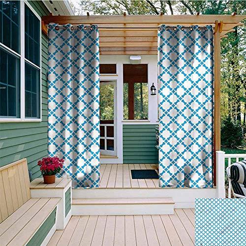 Beihai1Sun Sliding Door Curtain,Trellis Vintage Oriental Pattern,Waterproof Patio Door -