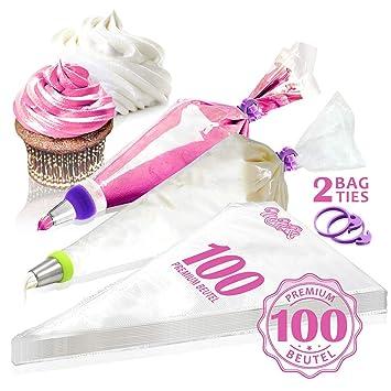 MoNiRo 100 Große Spritzbeutel - Profi Spritztüten Set für Spritztüllen zum verzieren & Backen von Fondant Torten & Cupcakes -