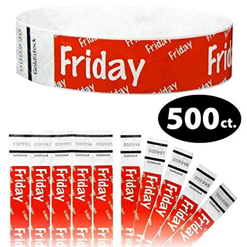"Goldistock 3/4"" Tyvek Wristbands Friday 500 Count (Neon Red)"