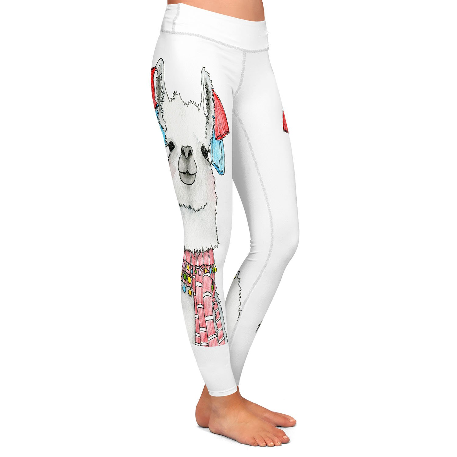 Athletic Yoga Leggings from DiaNoche Designs by Marley Ungaro Scarf Llama White