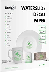 Koala Waterslide Decal Transfer Paper 25 Sheets Clear 8.5x11 Inches Printable for Laser Printer