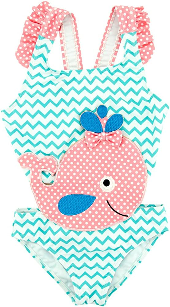 BEFULYAMO Baby Girls Summer Blue One Piece Swimsuit Cute Pink Whale Beach Swimwear for Girls