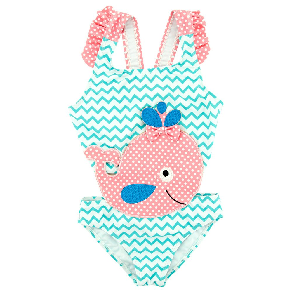 BEFULY 2018 Baby Girls Summer Blue One Piece Swimsuit Cute Pink Whale Beach Swimwear for Girls