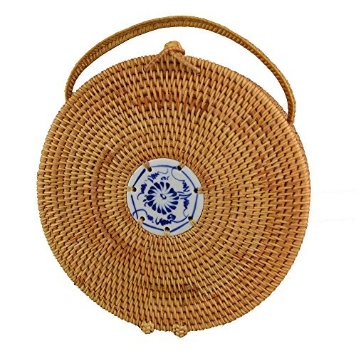 Knitted Purse Handles (Girls Round Rattan Vine Straw Top Handle Handbags Women Knitted Hand Bag Travel Tote Bag| 8.6 inch)