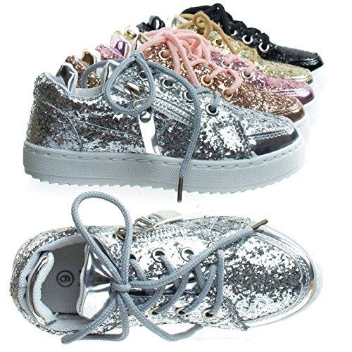 Remy18k 49Silver Lace up Rock Glitter Fashion Sneaker for Children/Girl/Kids -9