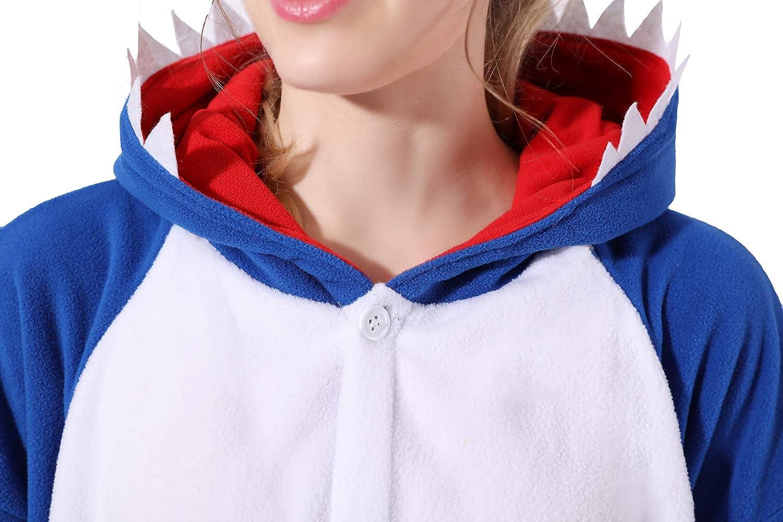 Adult Shark Onesie Cartoon Animal Jumpsuit Pajamas Christmas Shark Costumes Halloween Cosplay for Men