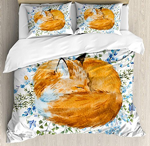 Our Wings Fox Comforter Set,Sleeping Fox in Watercolors Fresh Wild Flowers Blossoms Bedding Duvet Cover Sets Boys Girls Bedroom,Zipper Closure,4 Piece,Orange Blue Olive Green Twin Size by Our Wings