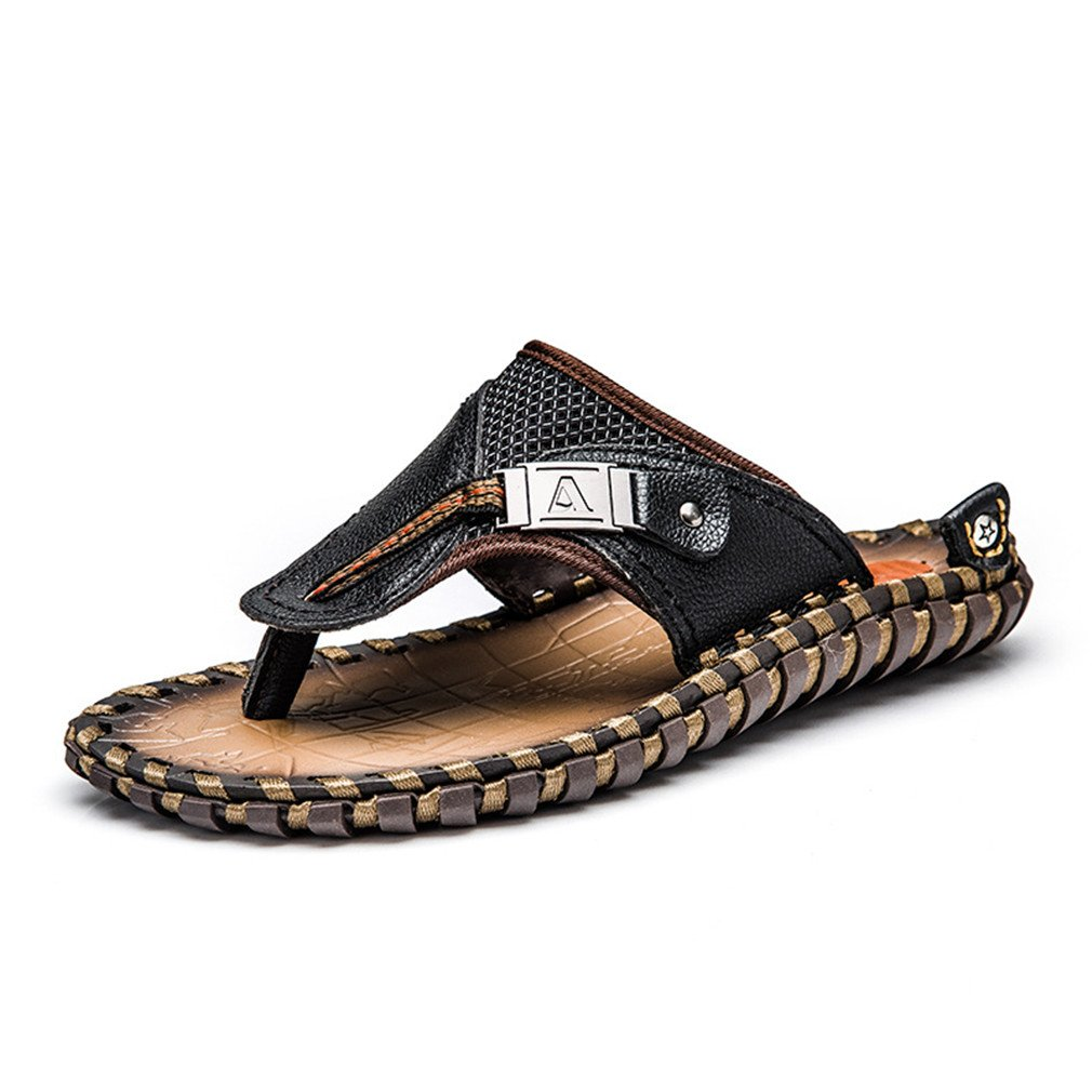 c2985fca4a60 Amazon.com  BRDTYSR 2018 Men s Flip Flops Genuine Leather Slippers Summer  Beach Sandals Shoes  Sports   Outdoors