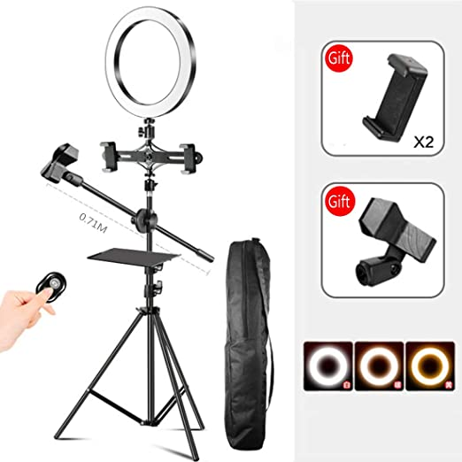 DLMPT Dimmable Ring Light Bluetooth Remote Control 10 Brightness Adjustable Ring Make Up Light with Phone Holder and Microphone Holder for YouTube Vlog Makeup Studio Video Shooting,16cm,1.6M