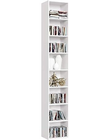 Homfa Librería Estantería de Pared con 8 Cubos Estantería Alta del Suelo para Libros CDs 29.5