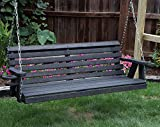 Amish Heavy Duty 800 Lb Roll Back 5ft Porch Swing With Cupholders – MADE IN USA (BLACK) Review