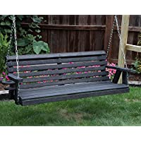 Ecommersify Inc Amish Heavy Duty 800 Lb Roll Back 5ft Porch Swing with Cupholders - Made in USA (Black)